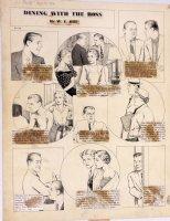 HILL, W.E. - Among Us Mortals Comic Sunday -  Dining with Boss  - 8/10 1954 Comic Art