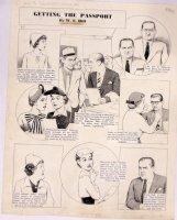 HILL, W.E. - Among Us Mortals Comic Sunday -Getting Passport 6/27 1954 Comic Art