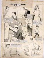 HILL, W.E. - Among Us Mortals Comic Sunday -  Calling Plumber  9/24 1954 Comic Art