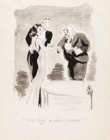 EVERETT, BILL - Sketchbook - ink-wash Good-Girl art, on fancy date cartoon 1937-38 Comic Art