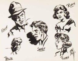 EVERETT, BILL - Sketchbook - ink sketch art, 5 characters 1937-38 Comic Art