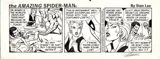 LIEBER, LARRY - Spiderman daily 11/2 1984, all Spidey signed in border by Stan Lee Comic Art
