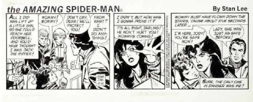 LIEBER, LARRY & STAN LEE - Spider-Man daily 4/8 1985 Peter & mob Comic Art