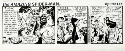 LIEBER, LARRY & STAN LEE - Spider-Man daily 4/9 1985 Peter & mob Comic Art