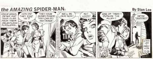 KIDA, FRED / JOHN ROMITA SR - Amazing Spiderman daily 11/26 1982, Parker & Tana trapped in alley, Seller: Coollines Artwork, Price $For Sale