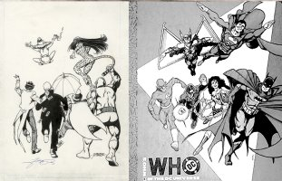 PEREZ, GEORGE - DC Who's Who Binder Back-cover, JLA villains Legion of Doom 1990  Comic Art