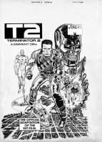 JANSON, KLAUS finishes / MARIE SEVERIN - T2 Terminator II, Judgement Day, Marvel Magazine cover, large 2-up size, Arnold Schwarzenegger & Conners Comic Art