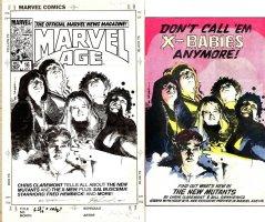 SIENKIEWICZ, BILL - New Mutants #18 poster & ad / Marvel Age #16 cover, Mutants Team w/ Magik 1984 Comic Art
