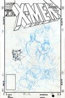 LEE, JIM - X-Men #11 full-size cover prelim on Marvel Board - full 7 team Comic Art