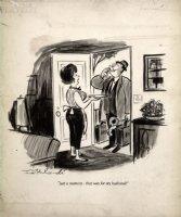 INTERLANDI, PHIL - Playboy Magazine cartoon, husband's drink served - May 1969 Comic Art