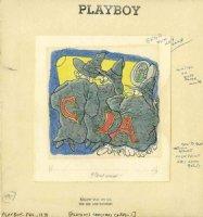 WILSON, GAHAN - Playboy Magazine painted cartoon, CIA spys 1975? Comic Art