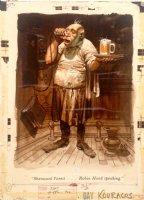 DAVIS, JACK -Playboy September 1956 Painted Pinup pg 45 barkeep in  Sherwood forrest  bar Comic Art
