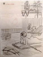 DEMPSEY, JOHN with HUGH HEFNER bulb drawings note- Playboy Magazine Pencil Cartoon - X-Mas lights Comic Art