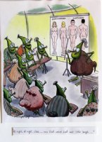 DEMPSEY, JOHN - Playboy Magazine Color Cartoon - Alien bugs studying mankind Comic Art