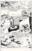 BARNEY, JOE - Marvel Fanfare #7 pg 10, Hulk punches X-Men villain Blob, 1983 Comic Art