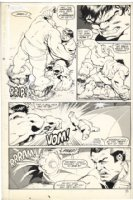 BARNEY, JOE - Marvel Fanfare #7 pg 12, Hulk fights X-Men villain Blob & Unus , 1983 Comic Art