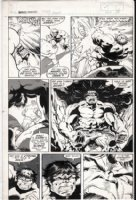 BARNEY, JOE - Marvel Fanfare #7 pg 18, Hulk in rage vs X-Men villain Blob, 1983 Comic Art