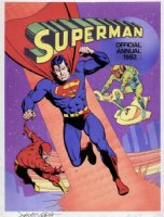 GIBBONS, DAVE - Superman 1982 Annual cover painting, Superman and Flash vs an alien menace Comic Art