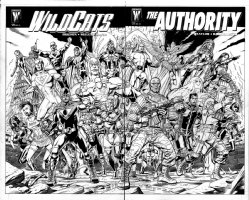 GIBBONS, DAVE & KEVIN NOWLAN - WildCATS #28 and Authority #27 covers, both pieces making one giant, incredible image. Comic Art