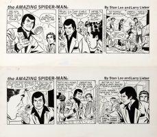 LIEBER, LARRY / JOHN ROMITA SR assist on faces? - STAN LEE's Spider-Man dailies 7/3 & 7/4 1981 - Peter Parker & ESP villain Comic Art