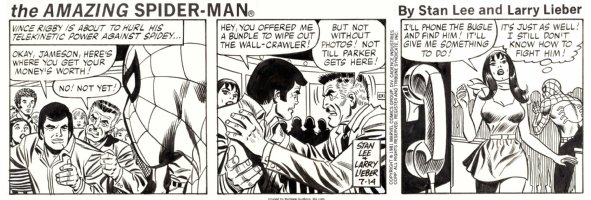 LIEBER, LARRY / JOHN ROMITA SR art on Spidey - STAN LEE's Spider-Man daily 7/14 1981 - Spider-Man & Mary Jane + J J J Comic Art