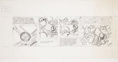 BODE, VAUGHN - Zooks! daily #19 pencil art, First Lizard in Orbit, 1970 Comic Art