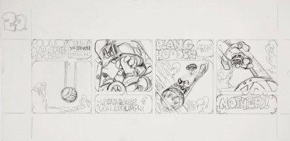 BODE, VAUGHN - Zooks! daily #20 pencil art, First Lizard in Orbit, 1970 Comic Art