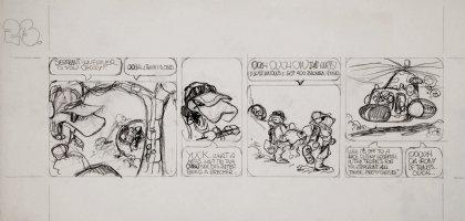 BODE, VAUGHN - Zooks! daily #23 pencil art, First Lizard in Orbit, 1970 Comic Art
