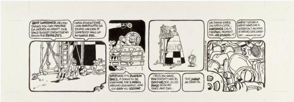 BODE, VAUGHN - Zooks! daily #6, First Lizard in Orbit, 1970 Comic Art