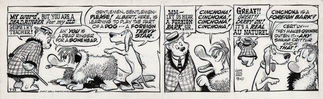 KELLY, WALT - Pogo daily 7-13 1955, P.T. Bridgeport admires Albert's impersonation of a real foreign dog! Comic Art