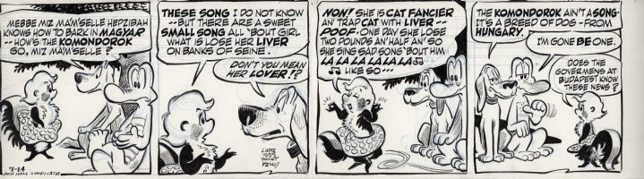 KELLY, WALT - Pogo daily 7-14 1955, Miz Ma'm'selle Hepzibah can't tell Albert and Beauregard what a  komondorok  bark sounds like...so she sings them a little song about a girl who loses her liver on the banks of the Seine Comic Art