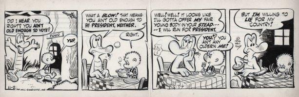KELLY, WALT - Pogo daily 11-2 1956, Pogo tells Albert he's not old enough to vote for himself for president? Comic Art