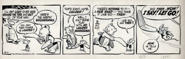 KELLY, WALT - Pogo daily 12-11 1956, more marsupial fun in Australia's 1956 Olympic Games! Comic Art