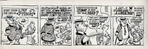 KELLY, WALT - Pogo daily 3-26 1955, P.T. Bridgeport's opinion of Mz Beaver: it's a real dog! Comic Art