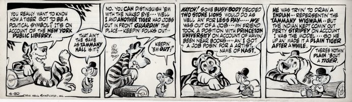 KELLY, WALT - Pogo daily 4-20 1955, Tammany Tiger gives his origin as a political symbol to one of the Bats Comic Art