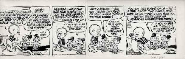KELLY, WALT - Pogo daily 4-25 1955, Pogo hears two of the Bats reason for not looking for their third brother Comic Art