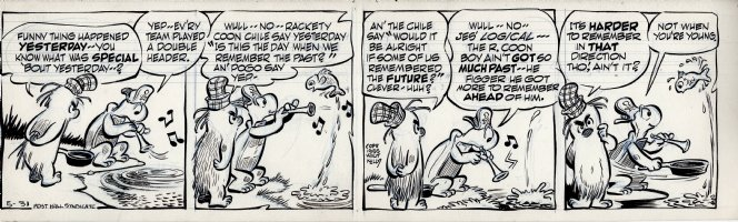 KELLY, WALT - Pogo daily 5-31 1955, Porky and Churchy debate Pogo's comment about remembering the past versus Rackety Coon Chile's preference to remember the future. Comic Art