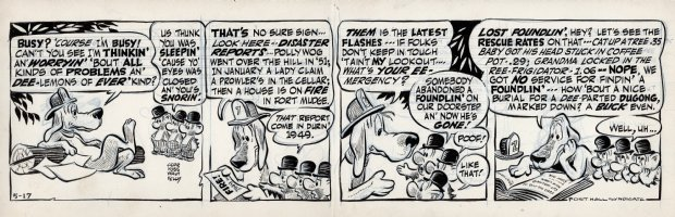 KELLY, WALT - Pogo daily 5-17 1955, The bats ask Beauregard Bugleboy for helps recovering a lost foundling Comic Art
