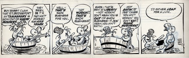 KELLY, WALT - Pogo daily 6-1 1955, Porky and Churchy floating in a tub, pondering: is there no business in show business? Comic Art