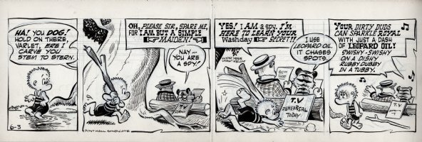 KELLY, WALT - Pogo daily 6-3 1955, Pogo, the hero, rushes in to save a script from P. T. Bridgeport and Tammany Tiger Comic Art
