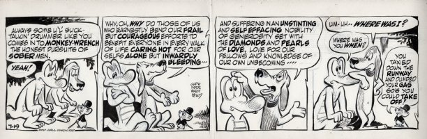 KELLY, WALT - Pogo daily 7-19 1955, Albert hears Beauregard take long winded umbrage at Ol' Mouse's attitude Comic Art