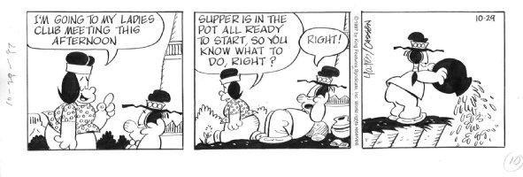 CASSON, MEL - Redeye daily 1997, dumps wife's dinner pot Comic Art