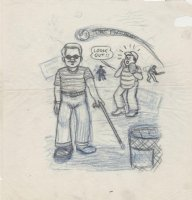 SPIEGELMAN, ART - Psychic-man origin cartoon prelim 1974 Comic Art