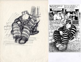 SPIEGELMAN, ART - Sleazy Scandals of the Silver Screen #1 splashy pg 6-B panel prelim - Movie star Fatty Arbuckle 1974 Comic Art