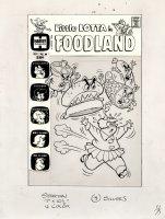 KREMER, WARREN - Little Lotta Foodland #29 cover, Lotta attacked by meat 1972 Comic Art