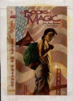 HALL, AUGUST - Books of Magic #26 painted cover w/ logo overlay, Tim Hunter - Golden Gate Bridge & flag 1995 Comic Art