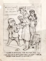 KILGORE, AL - Good-Girl Weekly Magazine Pencil Cartoon - King  Farouk Harem-Gal floor cover Comic Art