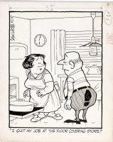 KILGORE, AL - Floor Covering Weekly Magazine Cartoon - husband 'quits' / get the boot at floor covering jobs Comic Art