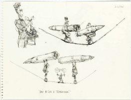 OLIPHANT, PATRICK - Political cartoon sketch, Reagan vs USSR Brezhnev tight-rope, 9  by 11 , 1981-1982 Comic Art