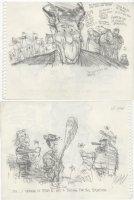 OLIPHANT, PATRICK - Political cartoon sketch, Reagan & Reagan as TR with Castro, 8 by 6 1984 Comic Art